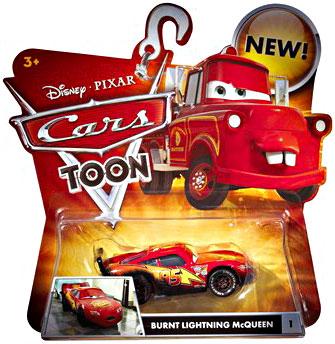 toydorks mattel toys cars toon burnt lightning mcqueen