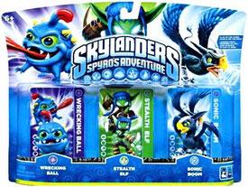 Skylanders - 3-Pack Wrecking Ball, Stealth Elf, Sonic Boom